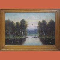 "Картина ""Тихий вечер над прудам"""