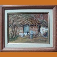 """Картина """"Жизнь в деревне"""" L.Devalck"""