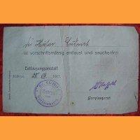 """Документ """"Назначение на дизенфекцию"""" 1917 год"""