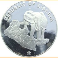 монета 5 dollars 1974 Либерия