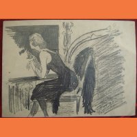 Рисунок Девушка у ночного окна Г.Й Перташ