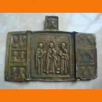 Складень трехстворчатый Святые Параскева Никола иТихон с изобранными святыси. конец ХІХ в.