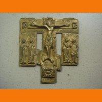 Крест Распятие Христово с предстоящими в позолоте под реставрацию.