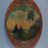 Пейзаж на деревянной овальной основе