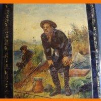 Шкатулка палех лаковая миниатюра на тему Рыболов В.Г.Перова
