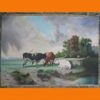 Пейзаж с коровами .