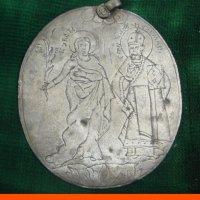 Панагия нательная икона Варвара Николай и Богоматерь