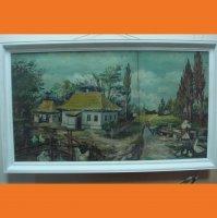 Великий сільський пейзаж на фанері кін 19 - початок 20 ст