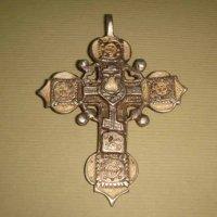 Срібний хрест 18 ст з білою емаллю